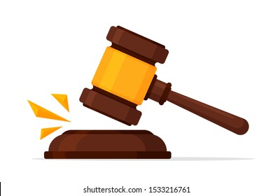 Justice Icon. Vector a legal hammer that knocked off a case in the court of justice.
