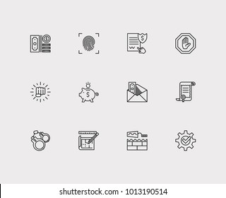 Justice icons set. Stop and justice icons with law, force and fingerprint. Set of elements including gesture for web app logo UI design.