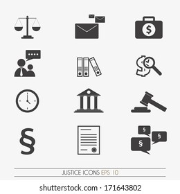 Justice icons, vector.