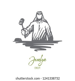 Justice, judge, indictment, Muslim concept. Hand drawn Arab judge with hammer concept sketch. Isolated vector illustration.