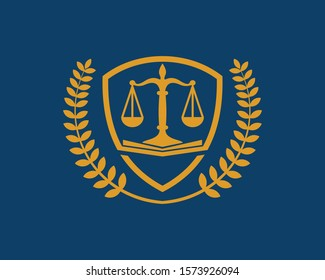 Justice and law icon for lawyer and attorney firm