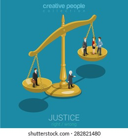 Justice and law, judgment and decision, court session, judicial sitting flat 3d web isometric infographic concept vector. Micro casual people judge bowls of scales. Creative people world collection.
