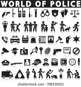 Justice, law, police vector icons.