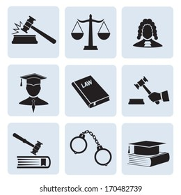 Justice and law. Vector icons. EPS-10 (non transparent elements, non gradient)