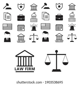 Justice and lawyer service banners set. Lawyer flat vector illustration
