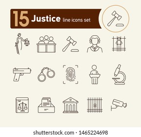 Justice line icon set. Video surveillance, fingerprint, courthouse. Justice concept. Can be used for topics like crime, trial, court, investigation