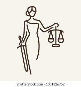 Justice line icon. Themis, statue, courthouse. Justice concept. Vector illustration can be used for topics like court, law, Greek mythology