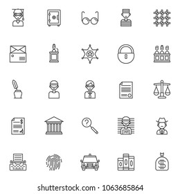 Justice outline icons set. linear style symbols collection, line signs pack. vector graphics. Set includes icons as judge, safebox, glasses , prisoner, prison bars, subpoena, witness, sheriff's badge