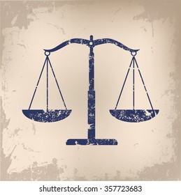 Justice scale design on old paper background,vector