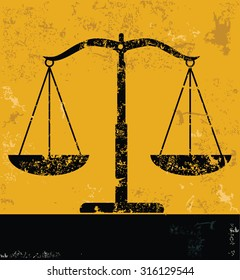 Justice scale design, yellow grunge vector