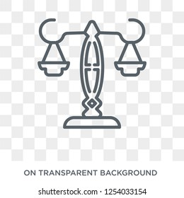 justice scale icon. Trendy flat vector justice scale icon on transparent background from law and justice collection. High quality filled justice scale symbol use for web and mobile