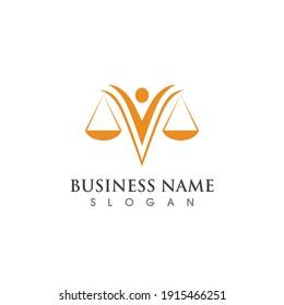 justice scale and person logo symbol, vector template design