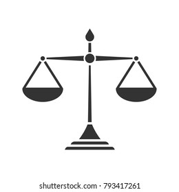Justice scales glyph icon. Silhouette symbol. Equality. Judgement. Negative space. Vector isolated illustration