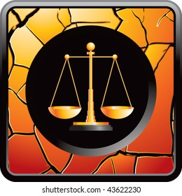 justice scales gold cracked web button