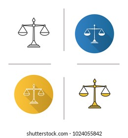 Justice scales icon. Flat design, linear and color styles. Isolated vector illustrations