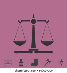 Justice Scales icon flat. Simple vector grey pictogram and bonus symbol
