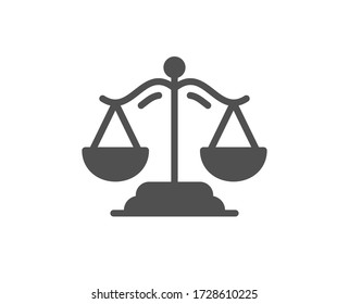 Justice scales icon. Judgement scale sign. Legal law symbol. Classic flat style. Quality design element. Simple justice scales icon. Vector