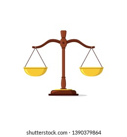 Justice scales icon. Law balance symbol. Libra in flat design