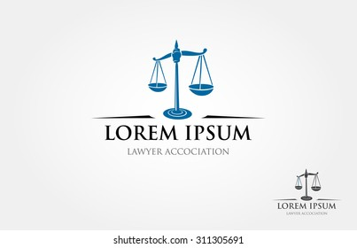 Justice scales lawyer logo design template. The main image is a simple perspective of scale.
