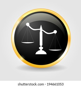 Justice scales on the Black shiny button with metallic elements, vector design for website.