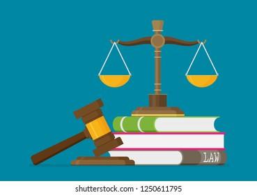 Richterskala und hölzerner Richter-Schlupfwinkel. Das Hammergesetz steht mit Gesetzbüchern. Gesetzliches Recht und Auktionssymbol. Libra in flachem Design. Vektorgrafik.
