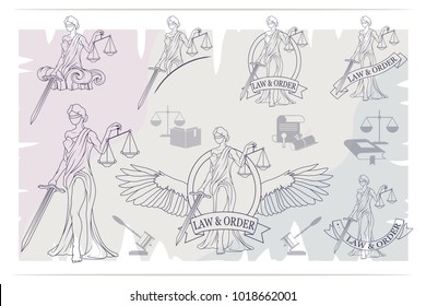 Justice Set. Femida -lady of justice. Lady Lawyer logo. Themis emblem. Law And Order Company Vector Logo Design Template.
