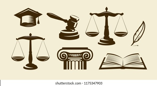 Justice set of icons. Lawyer, advocate, law symbol. Vector illustration