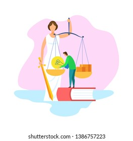 Justice Statue with Scales, Sword Illustration. Law, Judgement Symbol. Civil and Political Rights Lawyer. Juridical Science School Student. Notary, Attorney, Legal Advisor Cartoon Character