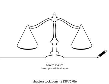 Justice Symbol Contour Black Outline Vector