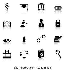 justice symbols, law concept, set