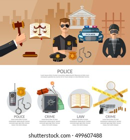Justice system infographics justice crime and punishment criminal trial judge in court justice symbol vector illustration