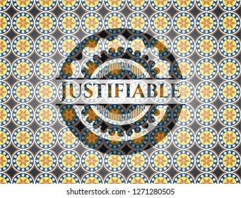 Justifiable arabic badge background. Arabesque decoration.