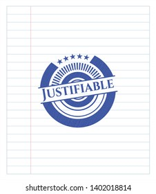 Justifiable drawn with pen. Blue ink. Vector Illustration. Detailed.