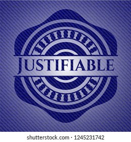 Justifiable emblem with denim high quality background