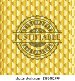 Justifiable gold badge. Scales pattern. Vector Illustration. Detailed.