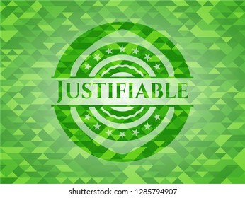 Justifiable green emblem. Mosaic background