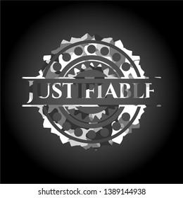 Justifiable grey camo emblem. Vector Illustration.