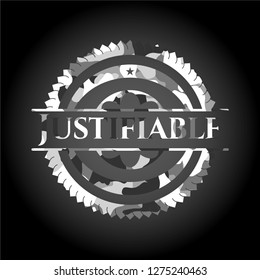Justifiable grey camouflage emblem