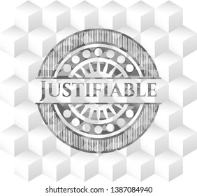 Justifiable grey emblem. Vintage with geometric cube white background