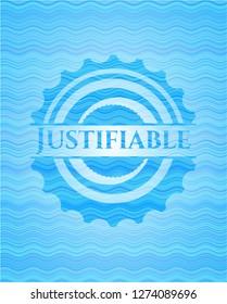 Justifiable light blue water wave emblem background.