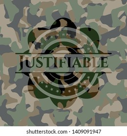 Justifiable on camouflage texture. Vector Illustration. Detailed.