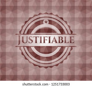 Justifiable red emblem or badge with abstract geometric polygonal pattern background. Seamless.