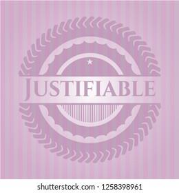 Justifiable retro pink emblem