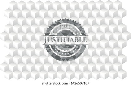 Justifiable retro style grey emblem with geometric cube white background