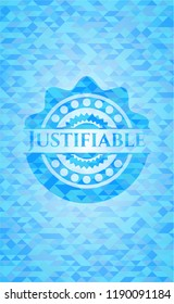 Justifiable sky blue emblem with mosaic ecological style background