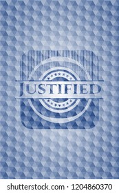 Justified blue badge with geometric background.
