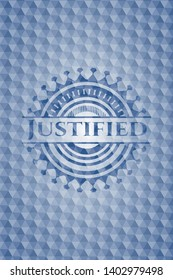 Justified blue emblem with geometric pattern. Vector Illustration. Detailed.