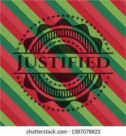 Justified christmas style badge. Vector Illustration. Detailed.