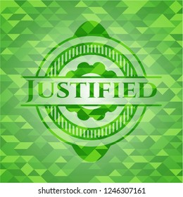 Justified green emblem. Mosaic background