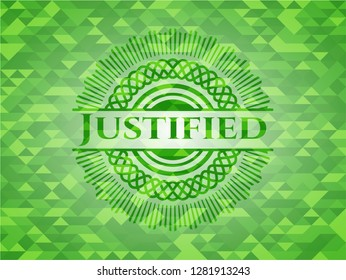Justified green emblem with mosaic background